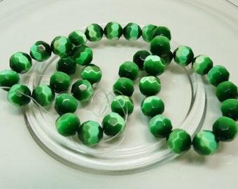 Large Green Cat Eye Beads, Green Cat Eye Beads, Faceted Green Cat Eye Beads