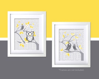 Modern Nursery Wall Art Gray Yellow Nursery Decor Bird Themed Baby Nursery Wall Art Owl Tweets Floral Damask Children Room Wall Art Decor