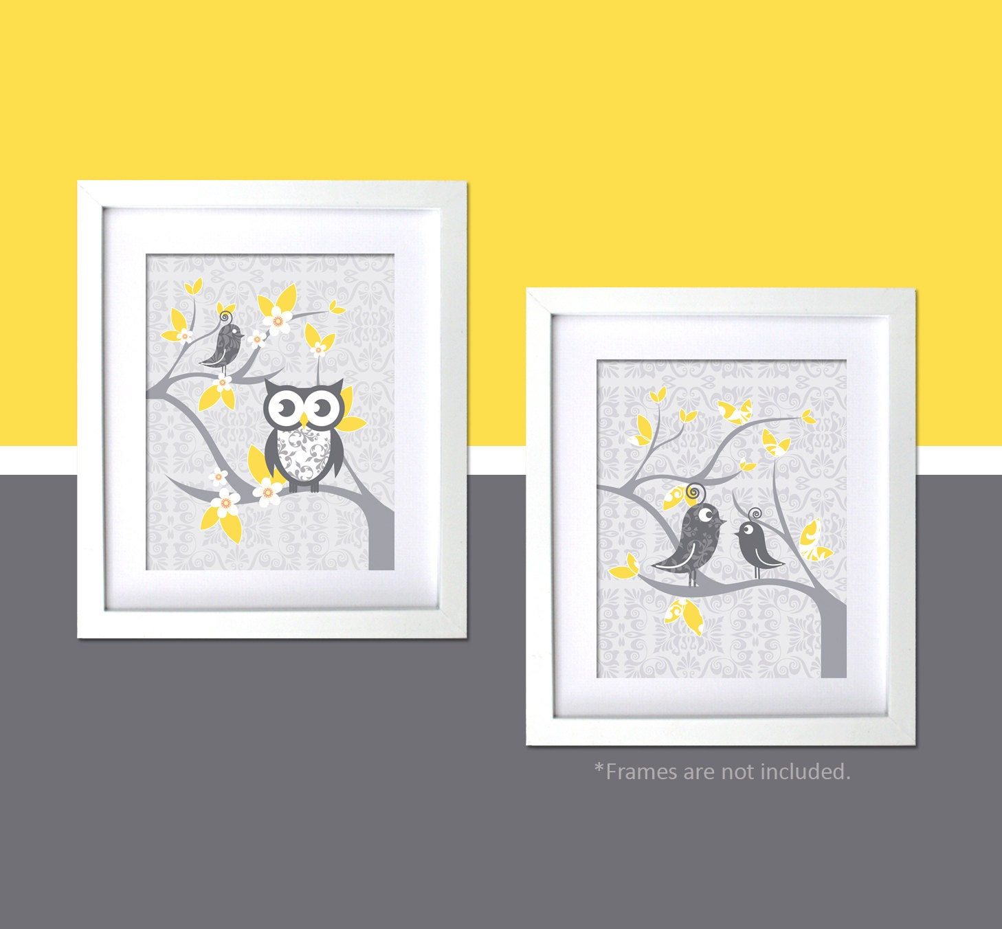 Wall Art Yellow And Gray - Elitflat