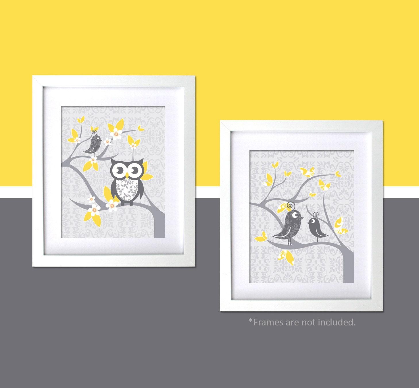 modern nursery wall art gray yellow nursery decor bird themed. Black Bedroom Furniture Sets. Home Design Ideas