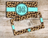 Unique gift for teenage girls, Cute license plate or frame, Monogram custom car tag, Car accessory Bicycle license plate Cheetah blue (9959)