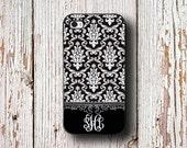 Personalized present, Pretty Iphone 6 case, Elegant iPhone 5c case, Women's iPhone 5s case, Damask Iphone 4s case, Black white damask (9762)