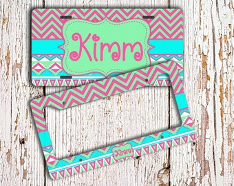 Monogram car accessory, Cute front license plate or frame, Aztec car tag, Tribal bike license plate, Chevron ATV plate, gift for teen (1290)