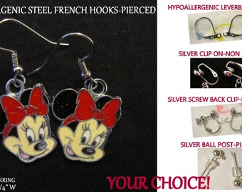 Red Bow Minnie Earrings -CHOICE- Steel Hypoallergenic French Hook Leverback Post Pierced OR Clip On