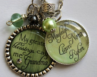 PERSONALIZED GRANDMA GIFT, My greatest blessing call me Grandma necklace, grandchildren names nana  wedding gift present beautiful quote