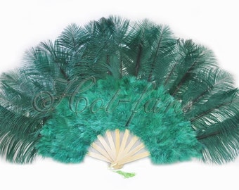 "Forest Green Burlesque 21""x 38"" Marabou & Ostrich Feathers Hand Fan With Bamboo Staves"