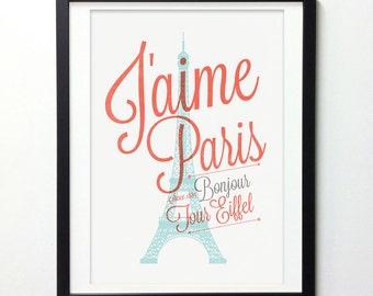 Paris Decor, Eiffel Tower Wall Decor, France City Art, City Prints, City Wall Art, Paris Print, Typography Wall Art
