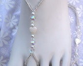 White Mother of Pearl Heart Beaded Barefoot Sandals Brides