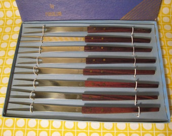 Set of 8 Fondue Forks in Box - Danish Modern / Mid Century Modern - Stainless Steel and Wood by Puralum - Made In Japan