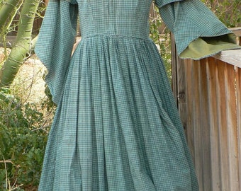 Civil War Pagoda Sleeve Camp Dress Victorian Historical Costume Homespun