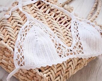 Crochet Bikini, Crochet swimsuit, Sexy bikini, Swimwear, White Lace bikini, Honeymoon bikini, Made to order