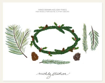 Digital clip art Hand Drawn wreath and Holiday Pine PNG digital clipart