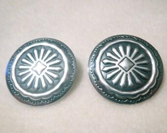 Pretty Vintage Southwest Sterling Silver Concho Earrings
