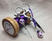 Emperor butterfly Embroidery kit in a wooden bobbin set with scissors and thread catcher.