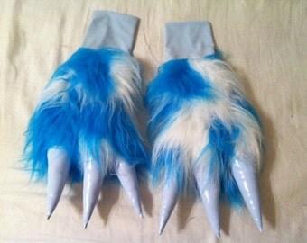 Aqua Blue, Baby Blue & White Monstar Paws