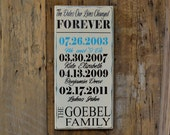 The dates our lives were changed forever, Important Dates Wood Sign, Anniversary Gift, Family Dates, Important Date Art - Elephant