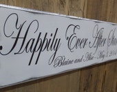 Wedding Sign, Happily Ever After Starts Here, Personalized Wedding Gift, Engagement Gift, Anniversary Gift, Important Date Custom Wood Sign