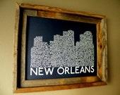 New Orleans Skyline Word Art Print (Dark Blue)