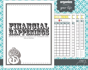"Mr. & Mrs. Retro Style ""Financial Happenings"" Cover Page and Set of 4 Printable Lists"