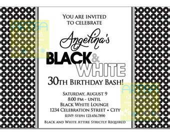 Adult Joint Birthday Party Invitation Black And White - Black and white 30th birthday party invitations