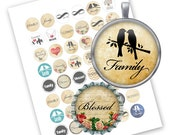 INSTANT DOWNLOAD- Family & Blessed - Printable 1 inch round for jewelry, magnet, bottle cap, keychain - Jpg File no. A225