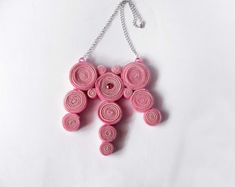 Necklace pink handmade with felt spirals and swarovsky cabochon. ooak made in Italy