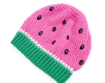 Watermelon Crochet Slouch Beanie. Womens Melon Hat. Red & Green Fruit Beanie. Kawaii Hat. Cute Girls Hat. Pink Slouchy Hat. Vegan Winter Hat