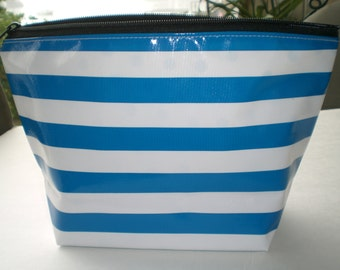 Royale blue stripe monogrammed oilcloth cosmetic bag
