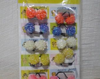 Vintage crystal plastic hair bobbles on card kitsch cute girly preppy