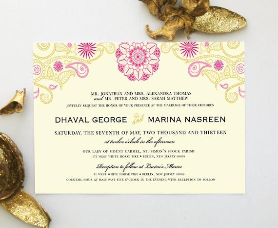Indian wedding invitation with henna mandala mehndi paisley like this item stopboris Choice Image