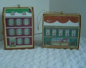 Christmas Victorian House Ornaments Gift World of Gorham Set of 2