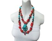 DESERT SUNSET southwest tribal cultural midwestern american west double strand women's necklace