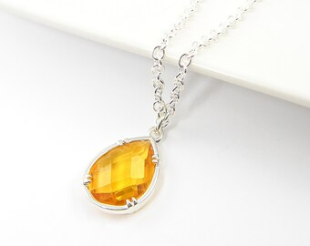 Amber Drop Necklace, Amber Silver Pendant Necklace, Teardrop Necklace Bridal Bridesmaid Wedding Jewelry Dainty Necklace  AM1-4