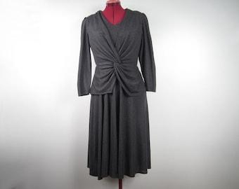 1980s does 1940s - medium grey soft knit dress with faux peplum blazer jacket - vegan