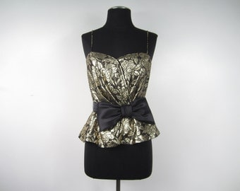 1980s Gold and Black Lame Spaghetti Strap Tank Top with Black Bow and Peplum Waist - Hipster Glam New Wave Electro - Small