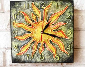 The Sun Wall Clock Home Decor for Children Baby Kid Boy Girl Nursery Playroom, wall clocks handmade