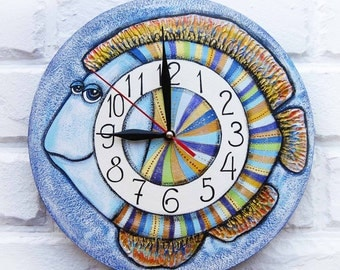 The Blue Fish Wall Clock, Home Decor for Children Baby Kid Boy Girl Nursery Playroom Kitchen
