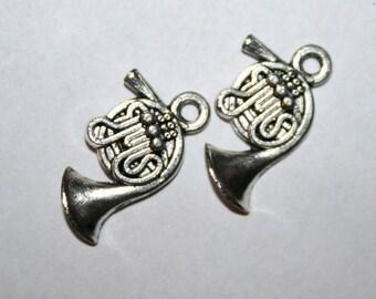 5 Tibetan Silver French Horn Charms/Pendants CS - 0010
