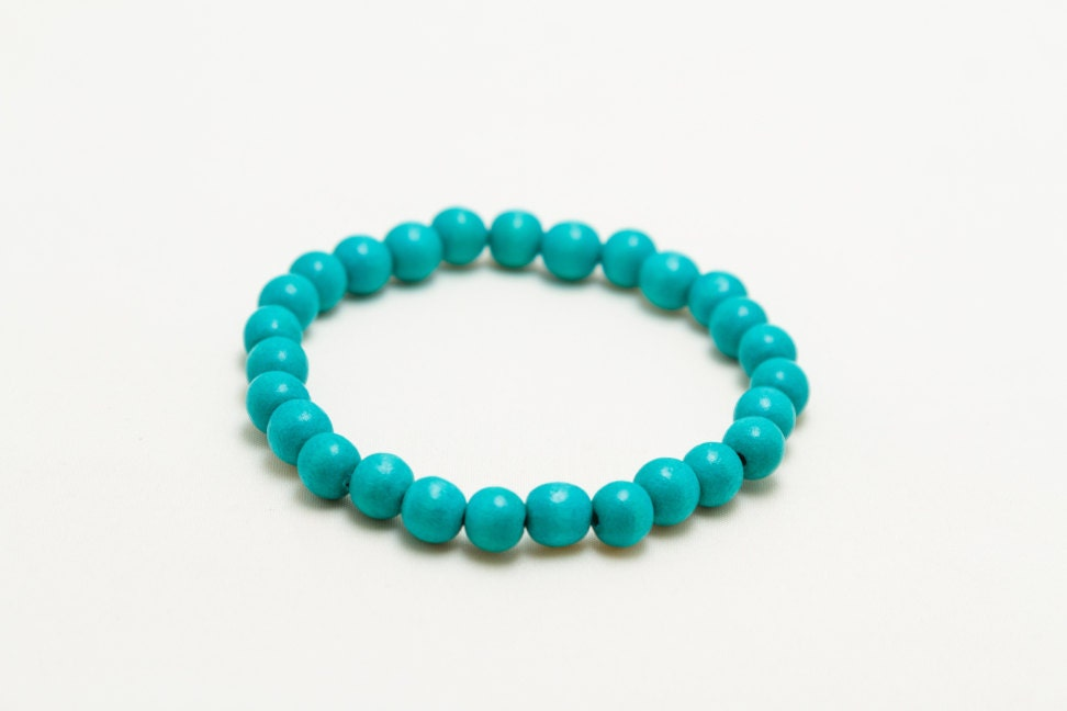 turquoise stretch bracelet elastic cord jewelry wooden