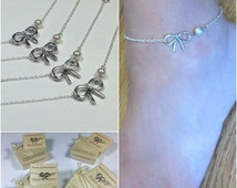 Free Shipping Set of 4 Sterling silver bow anklets for bridesmaids. Bridesmaids anklet.