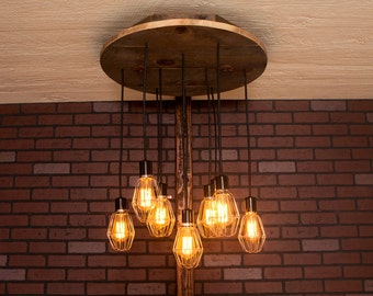 Industrial lighting, Industrial Chandelier, Nickel With Reclaimed Wood and 10 Pendants. R-26C-NC-10