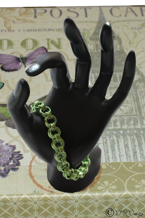 3 by 3 Green Chainmaille Bracelet