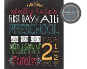 Custom PRINTABLE chalkboard style sign poster 8x10 First Day of School