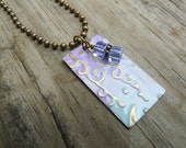 Vintaj Brass Wisteria Hand-painted Pendant Necklace.  Boho Chic.  Gift for Her.