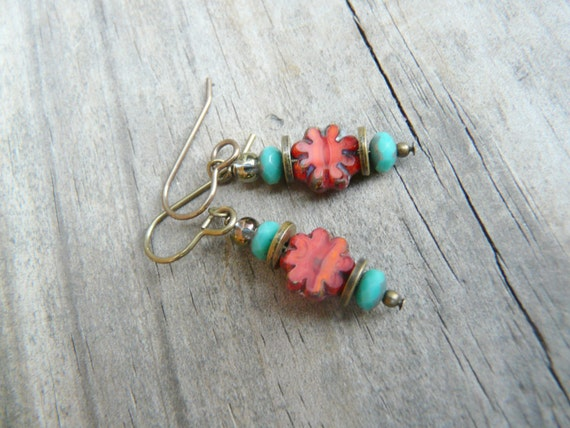 Teal and Coral and Brass Flower Earrings.  Czech Glass Earrings.  Gift for Her.