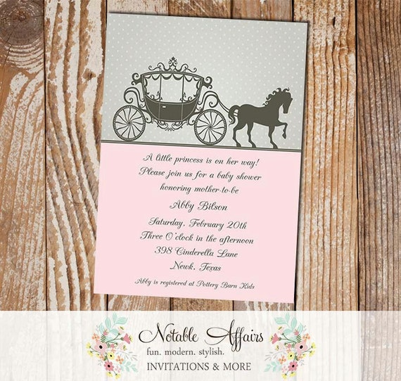 Cinderella Princess Horse Carriage Baby Shower or Birthday – Cinderella Birthday Invitation Wording