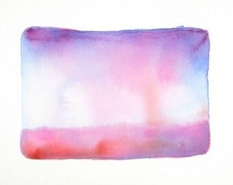Morning Mist - Original Abstract Watercolor Art - Purple - Pink - Blue - Minimalist Decor - 9 x 12