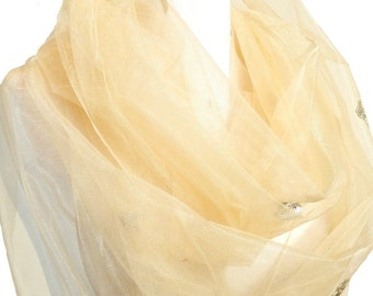 Cloud Scarf, Ivory Infinity Scarf, Tulle Scarf, Sequin Scarf, White Loop Scarf, Champagne Scarf, Loop Scarf, Tan Chiffon Scarf