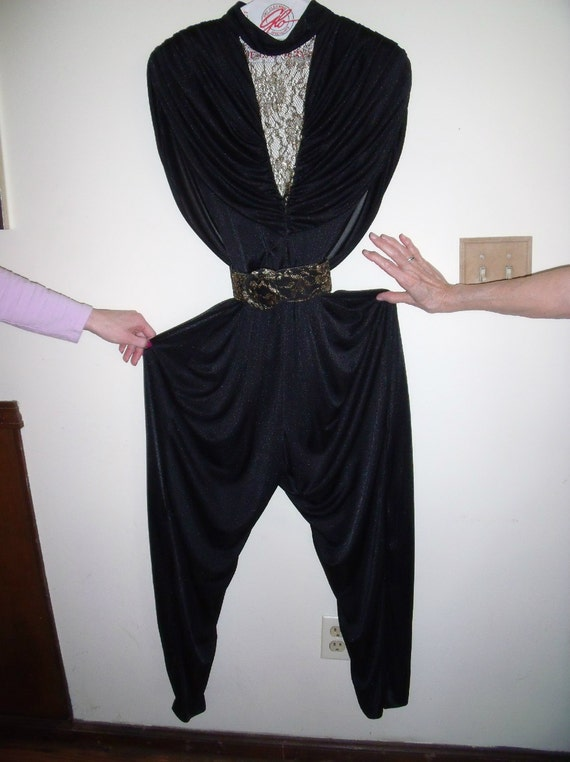 Vintage Jumpsuit Black With Floral Gold Lame Drape 1980s Marked Stash Cool
