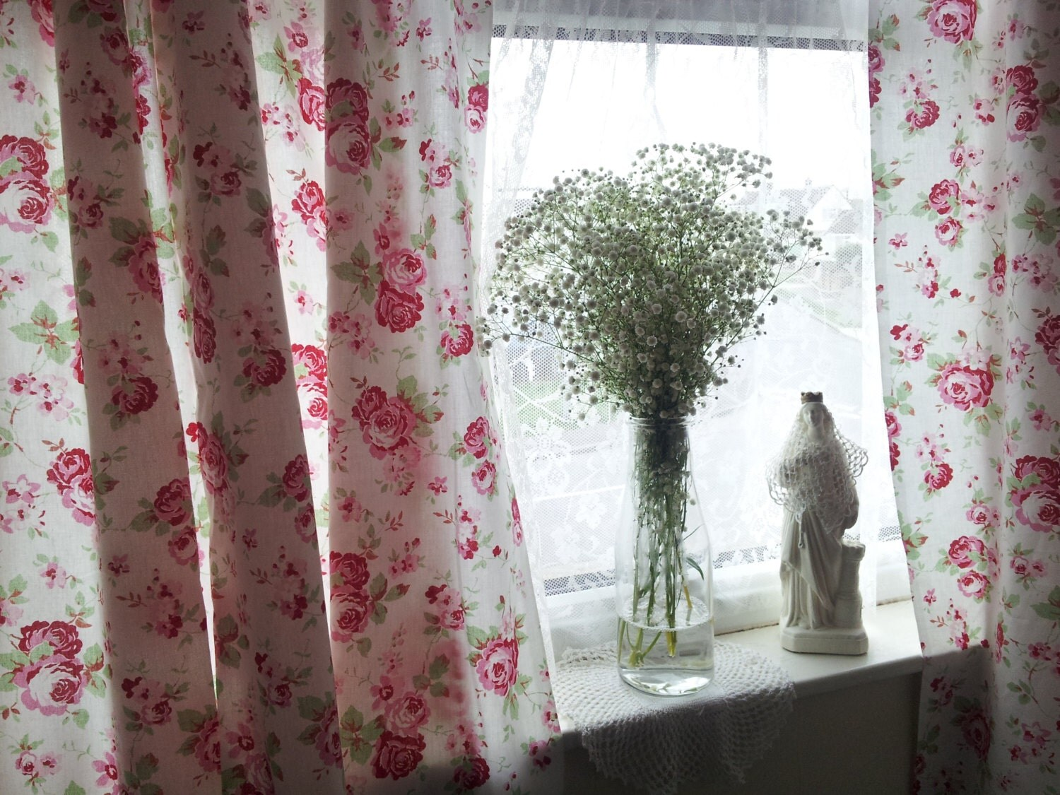 shabby chic curtains window treatments window by. Black Bedroom Furniture Sets. Home Design Ideas